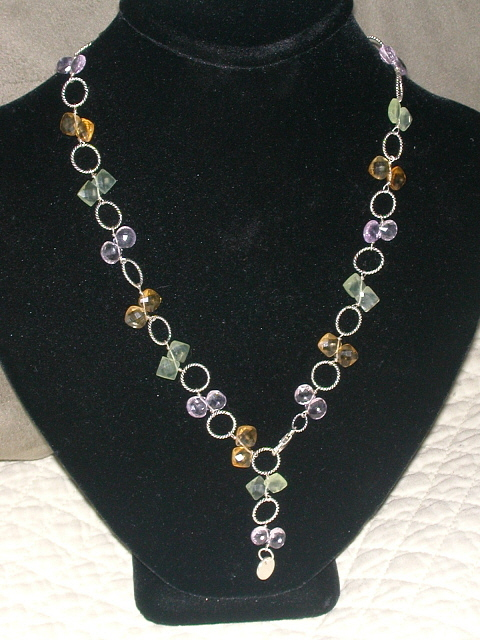 Necklace Jewelry - Peridot Amethyst Citrine Faceted Drop Necklace by Pia Bacigalupi