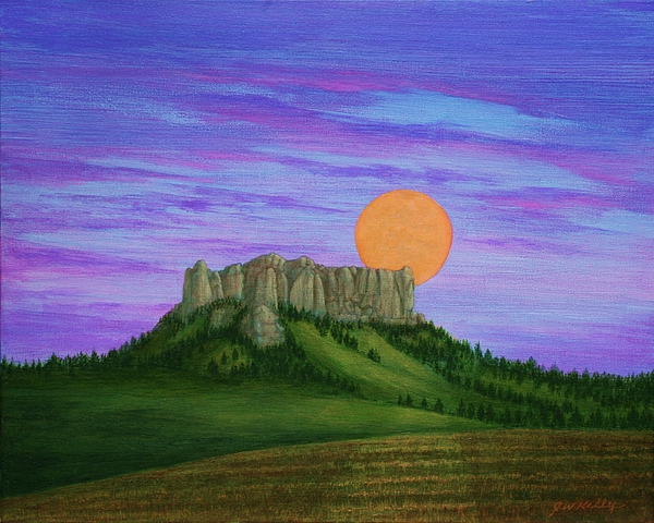 Perigee Moon Rising Above Crow Butte Painting by J W Kelly