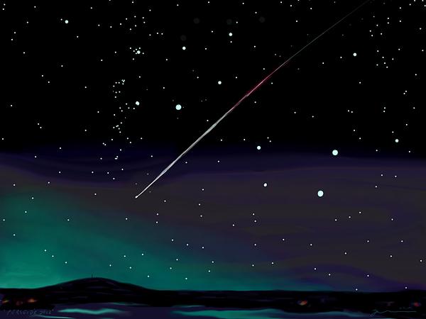 Meteor Digital Art - Perseid Meteor Shower  by Jean Pacheco Ravinski