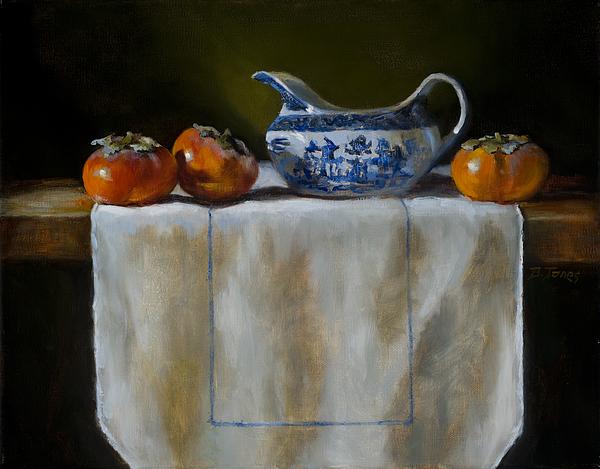Still Life Painting - Persimmons by Barbara Jones