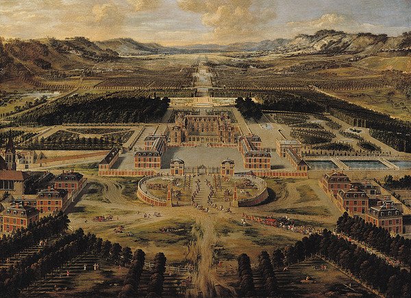 Perspective Painting - Perspective View Of The Chateau Gardens And Park Of Versailles by Pierre Patel