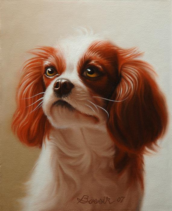 Cavalier King Charles Painting - Pet Portrait Of A Cavalier King Charles Spaniel by Eric Bossik