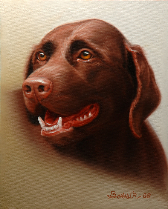 Chocolate Labrador Painting - Pet Portrait Of A Chocolate Labrador by Eric Bossik