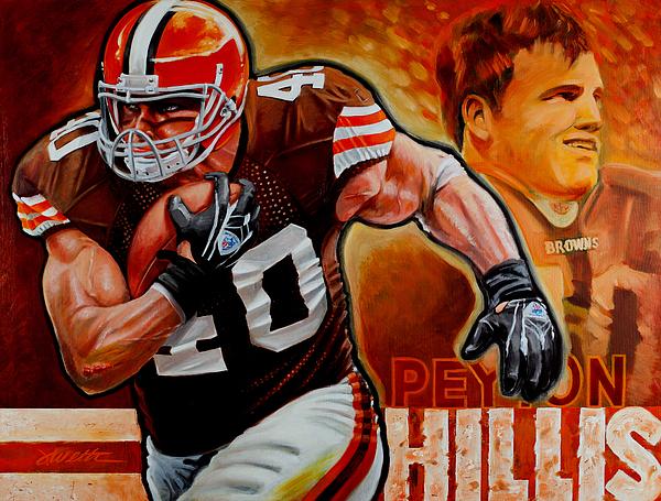 Football Painting - Peyton Hillis by Jim Wetherington