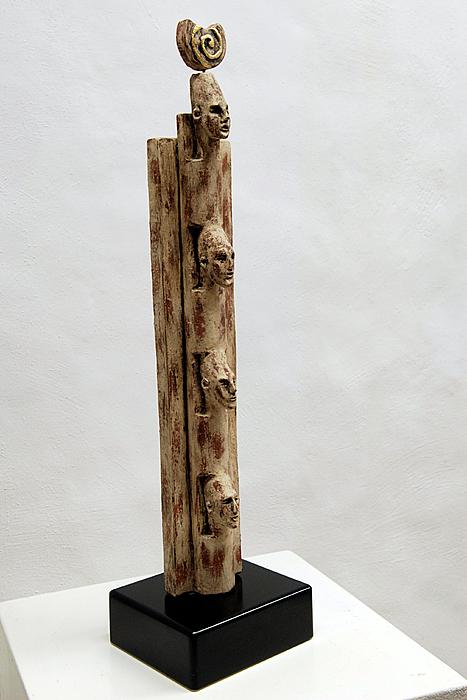 Religion Sculpture - Pharaohs Iconic Cult - Ancestral Stela - Egypt - Egyptian - Pharaohs - Helga Pohlen  by Urft Valley Art