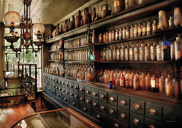 Pharmacy Photograph - Pharmacy - So Many Drawers And Bottles by Mike Savad