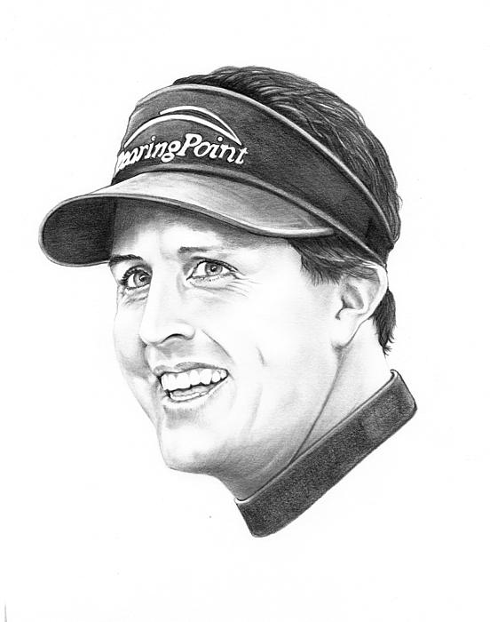 Portrait Drawing - Phil Mickelson by Murphy Elliott