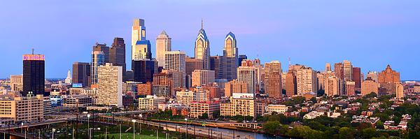 Philadelphia Skyline At Dusk Photograph - Philadelphia Skyline At Dusk Sunset Pano by Jon Holiday