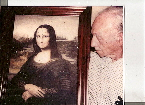 Photo Of Daddy Holding His Oil Painting Of Mona Lisa Photograph by Anne-Elizabeth Whiteway