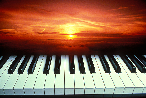 Piano Keys Photograph - Piano Keys Sunset by Garry Gay