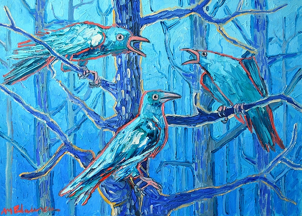 Ravens Painting - Pick Me ..... Theyre Crazy by Ana Maria Edulescu