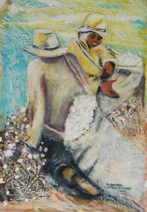 Oil Painting Mixed Media - Pickin  Cotton by Amos Harper