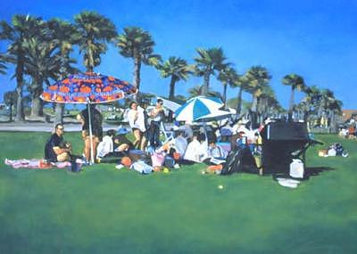 Cityscape Painting - Picnic by Merle Keller