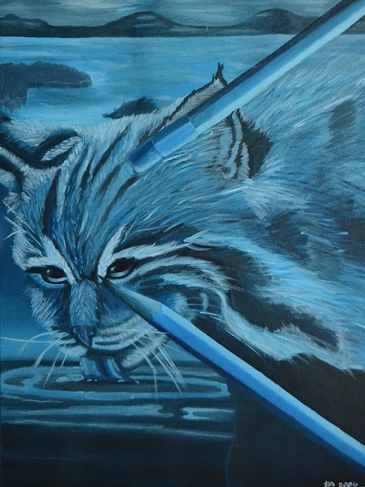 Cat Painting - Picture Perfect by Vykky Gamble