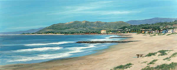 Pierpont Beach Painting - Pierpont Beach And The Bench by Tina Obrien