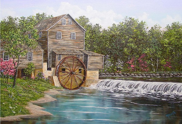 Landscape Painting - Pigeon Forge Mill by Marveta Foutch