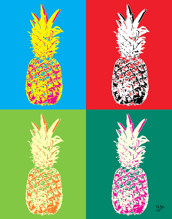 pineapple painting. Popart Painting - Pineapple 33 By Flo Ryan
