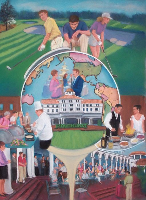Golfing Painting - Pinehurst Food And Wine Festival Rejected Poster by Diane Caudle