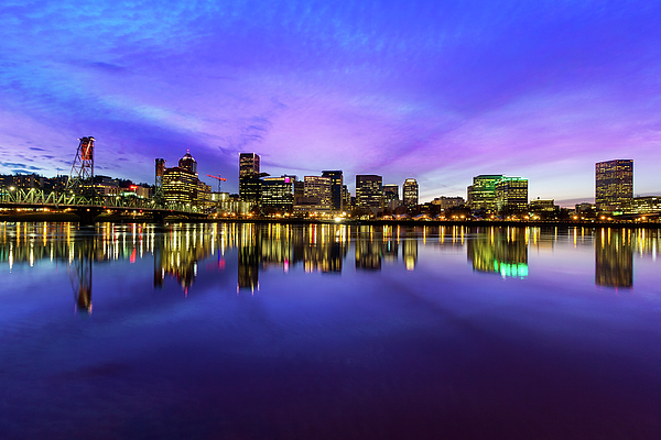 Portland Photograph - Pink And Blue Hue Evening Sky Over Portland Oregon by David Gn