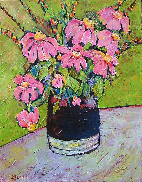 American Painting - Pink And Green by Blenda Studio