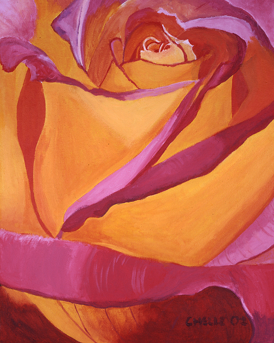 Rose Painting - Pink And Yellow Rose by Chelle Fazal