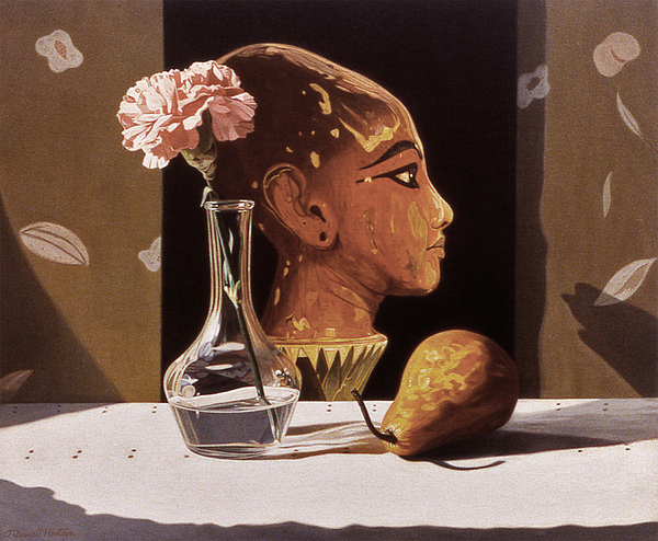 Painting Painting - Pink Carnation And Egyptian Head by Daniel Montoya