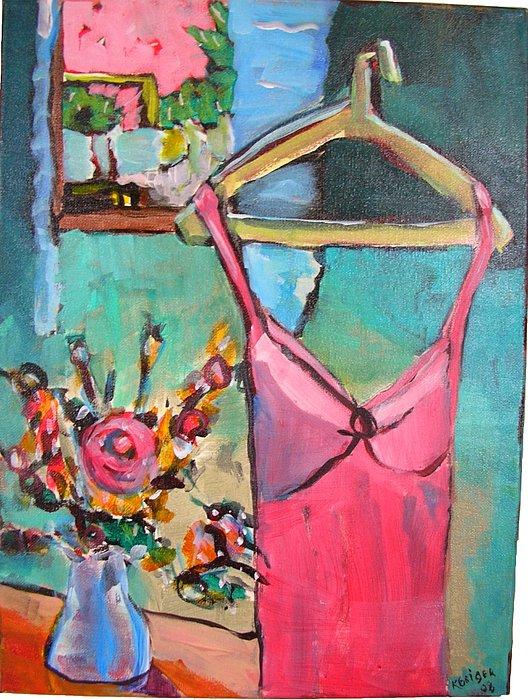 Dress Painting - Pink Dress by Karen Geiger
