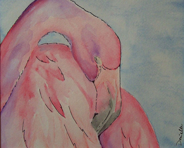 Flamingo Painting - Pink Flamingo by Donielle Boal