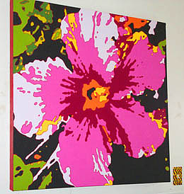 Flowers Painting - Pink Hibiscus by Alli Berglund