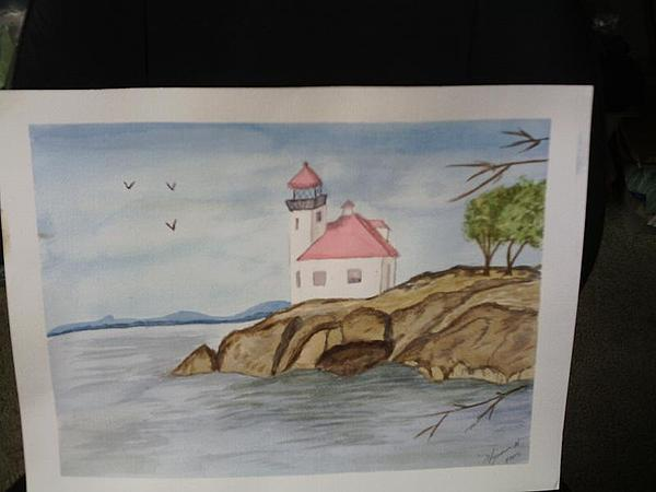 Watercolor Painting - Pink Lighthouse by Georgina Brandt
