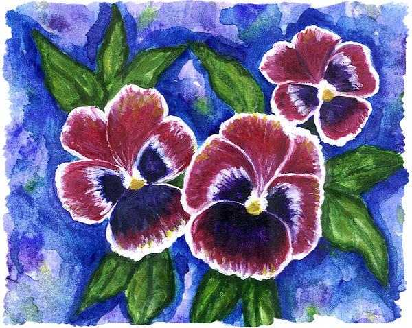 Pansies Painting - Pink Pansies by Heather  Marie