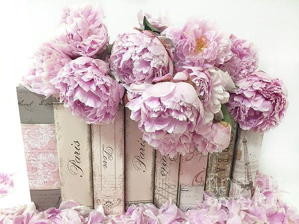 Shabby Chic Flowers Photograph   Pink Peonies Paris Books Romantic Shabby  Chic Wall Art Home Decor