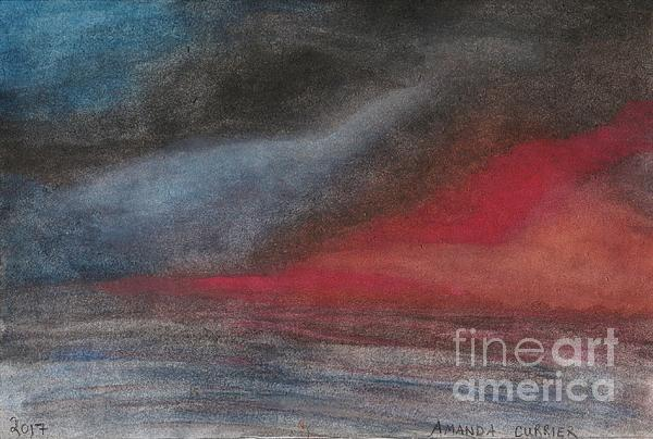 Watercolor Painting - Pink Sunset Over Ocean by Amanda Currier