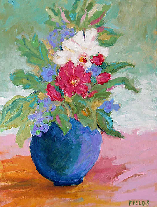 Flowers Painting - Pink Tablecloth by Karen Fields