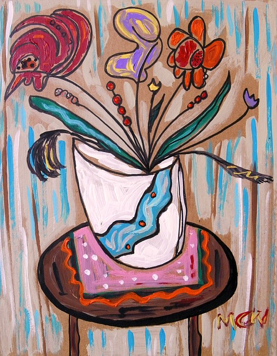 Floral Painting - Pink Underneath by Mary Carol Williams