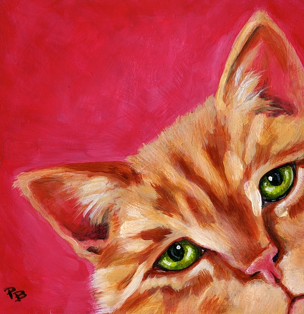 Cat Painting - Pink With Attitude by Pat Burns