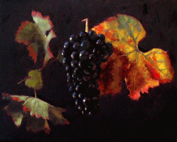 Wine Painting - Pinot Noir Grape With Autumn Leaves by Takayuki Harada