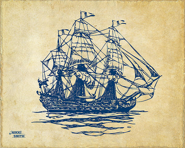 Pirate Ship Drawing - Pirate Ship Artwork - Vintage by Nikki Marie Smith