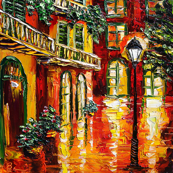 New Orleans Oil Painting Original French Quarter B. Sasik Painting - Pirates Alley by Beata Sasik