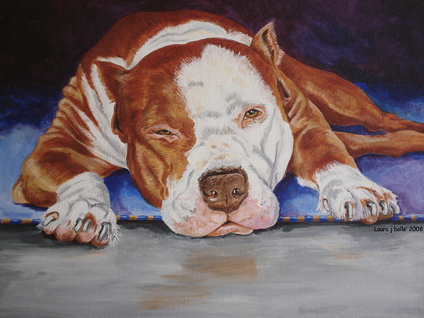 Pittie Painting - Pitbull Relaxing by Laura Bolle