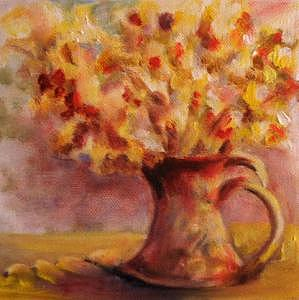 Pitcher Of Flowers Painting by Patricia Halstead