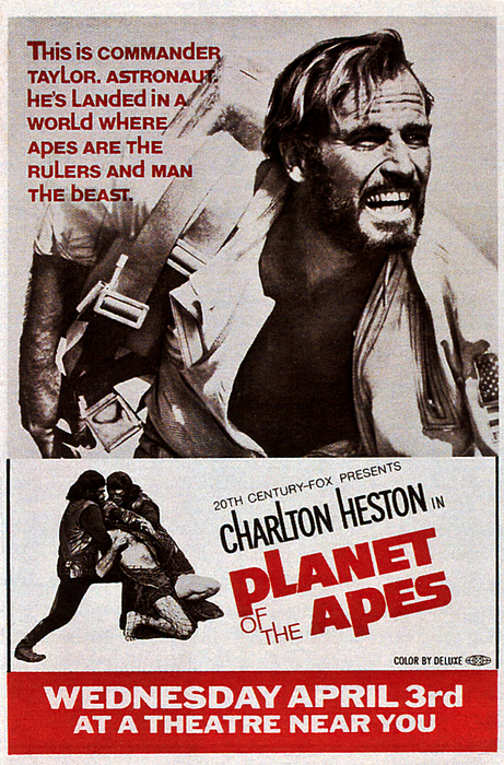 1968 Movies Photograph - Planet Of The Apes, Top Charlton by Everett