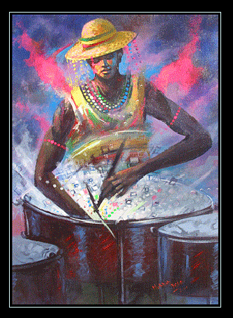 Play The Drums Painting by Mekbib Geberstadik