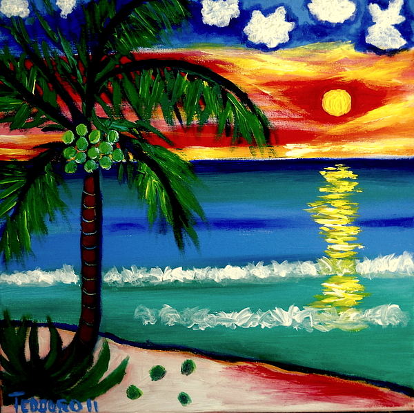 Playa Norte Sunset Painting by Ted Hebbler