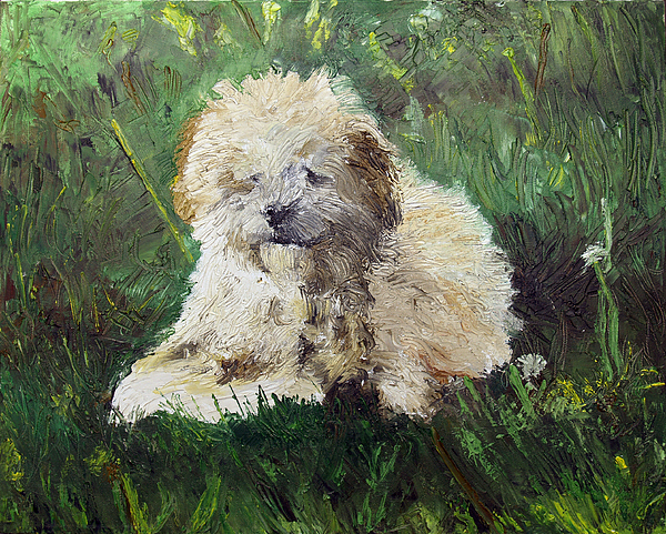Dog Painting - Playful Companion by Pradeep Bangalore
