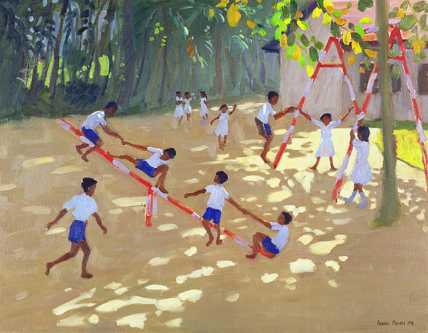 Children Painting - Playground Sri Lanka by Andrew Macara