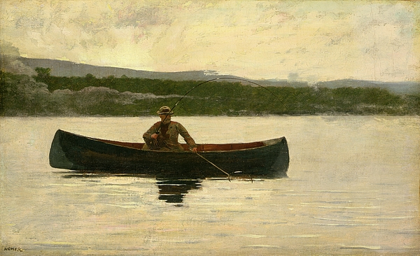 Playing A Fish Painting - Playing A Fish by Winslow Homer