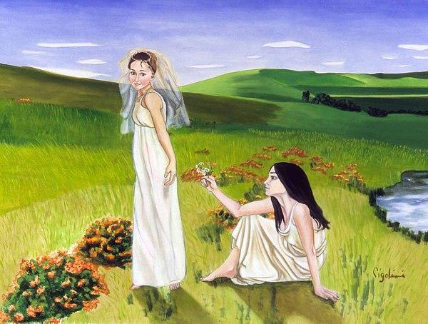 Girls Playing Painting - Playing by Gloria Cigolini-DePietro