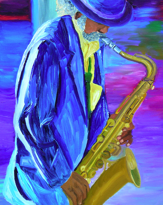 Street Musician Painting - Playing The Blues by Michael Lee