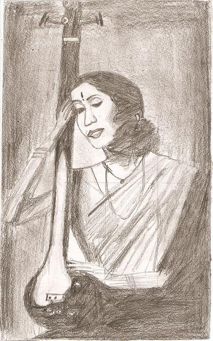 Playing Veena Drawing by Karthik